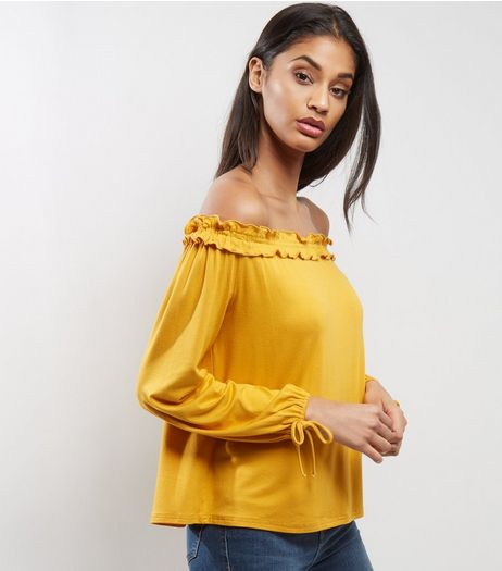 Yellow Frill Trim Tie Sleeve Bardot Neck Top | New Look