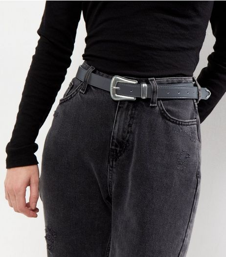 Black Sleek Western Buckle Belt  | New Look