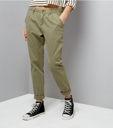 JDY Olive Green Chinos  | New Look