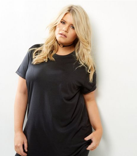 Curves Black Roll Sleeve Boyfriend T-Shirt  | New Look