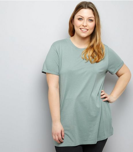 Curves Green Boyfriend T-Shirt | New Look