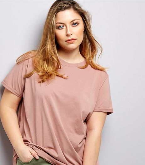 Curves Pink Boyfriend T-Shirt | New Look