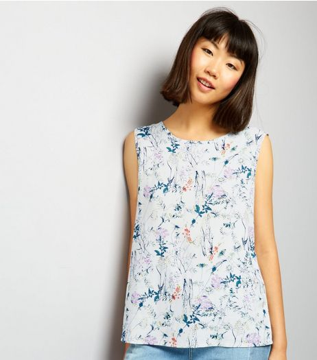 JDY White Floral Print Sleeveless Top | New Look