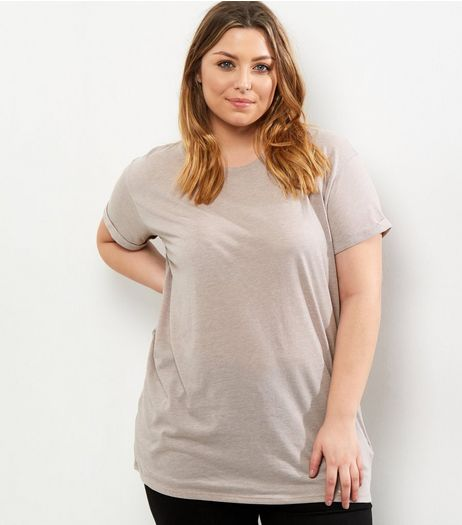 Curves Lilac Boyfriend T-Shirt | New Look