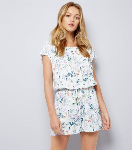 JDY White Floral Print Playsuit  | New Look