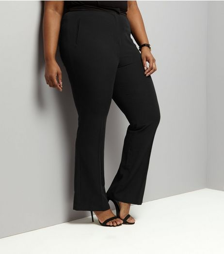 Curves Black Bootcut Suit Trousers | New Look