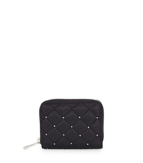 Black Quilted Studded Mini Zip Around Purse  | New Look