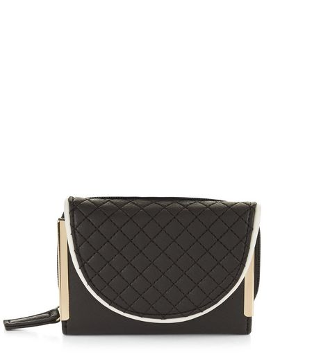 Black Quilted Zip Detail Purse | New Look