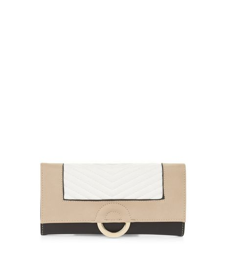 Black Colour Block Half Ring Purse | New Look