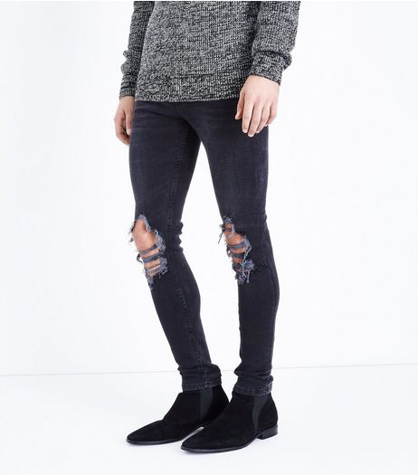 Black Ripped Super Skinny Jeans  | New Look