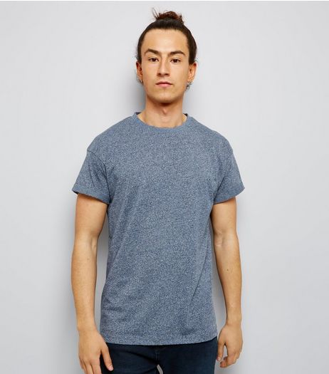 Blue Roll Sleeve T-Shirt | New Look
