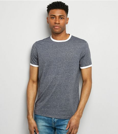 Blue Marl Ringer T-Shirt | New Look