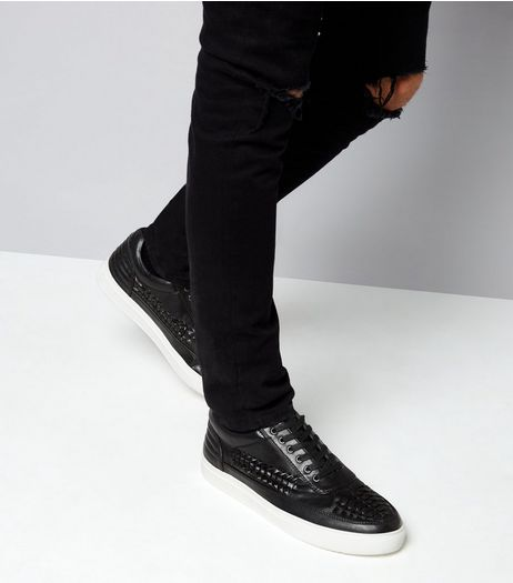 Black Woven Contrast Sole Trainers | New Look