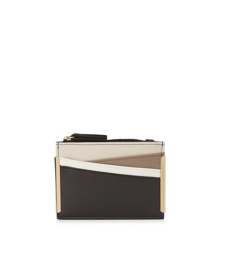 Black Colour Block Panel Cardholder | New Look