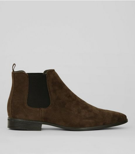 Brown Suedette Pointed Chelsea Boots | New Look