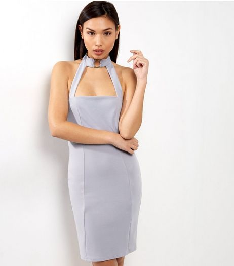 Lilac Ring Front Choker Neck Bodycon Dress | New Look