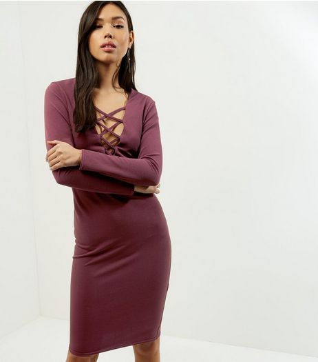 Burgundy Lattice Front Long Sleeve Bodycon Dress | New Look