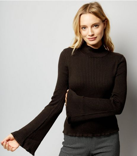 Black Ribbed Flared Sleeve Jumper  | New Look