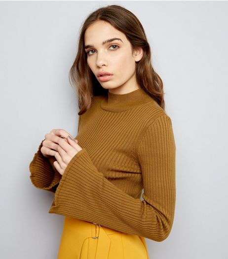 Olive Green Ribbed Flared Sleeve Jumper | New Look