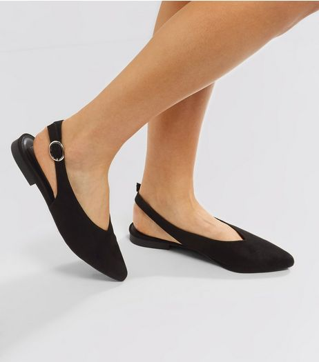 Black Suedette Pointed Sling Back Pumps | New Look