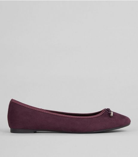 Dark Purple Ballet Pumps | New Look