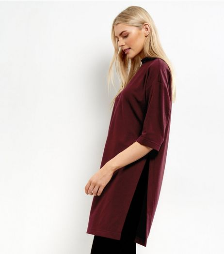 Burgundy Brushed Side Split Longline Top | New Look