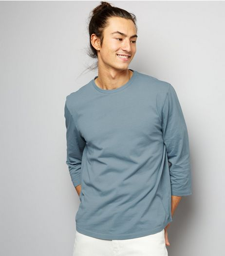 Pale Blue 3/4 Sleeve Curved Hem T-Shirt | New Look