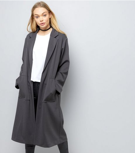 Dark Grey Soft Maxi Duster Coat | New Look