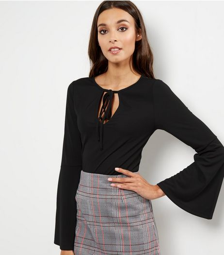 Black Tie Neck Bell Sleeve Top  | New Look