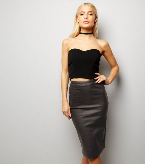 Tall Black Coated Pencil Skirt | New Look