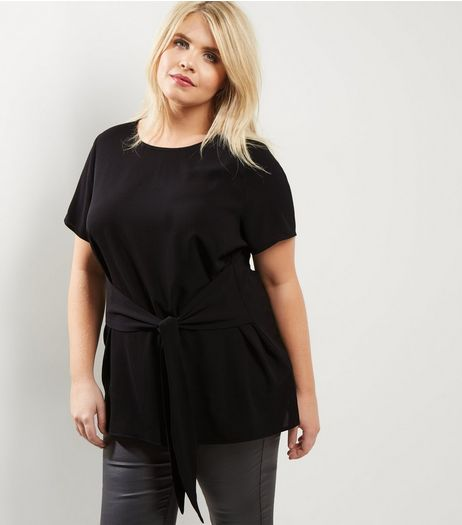 Curves Black Tie Front T-Shirt  | New Look