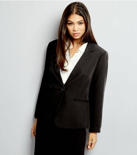 Tall Black Button Front Suit Jacket | New Look