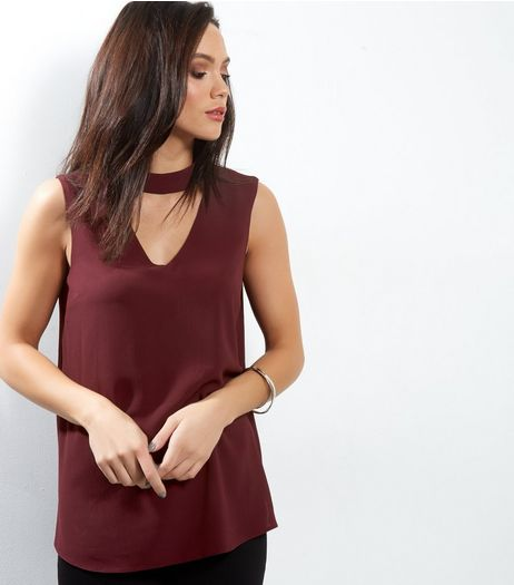 Tall Burgundy Choker Neck Sleeveless Top | New Look