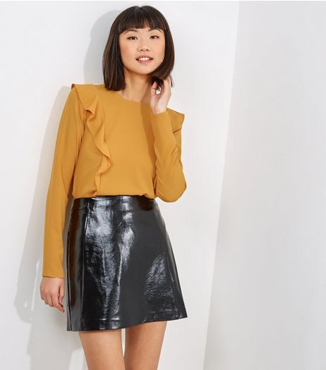 Tall Yellow Frill Trim Long Sleeve Top | New Look