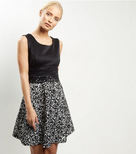 Loving This Black 2 in 1 Flocked Floral Print Dress | New Look