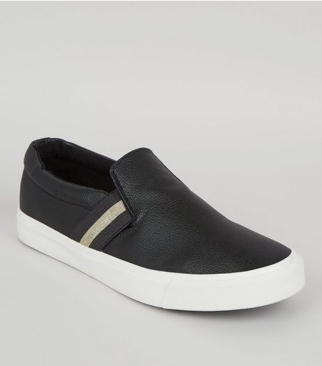 Black Contrast Elasticated Strap Plimsolls | New Look