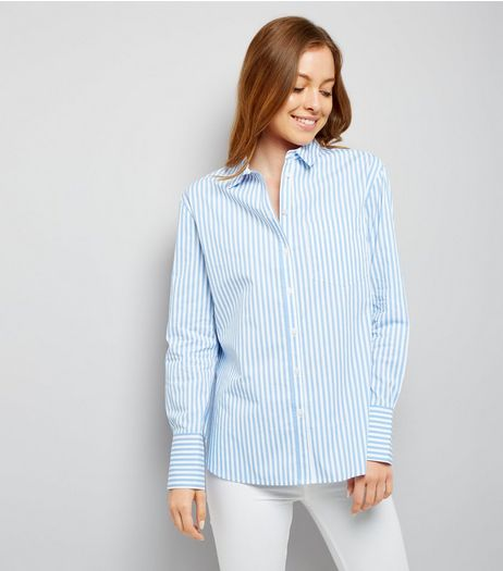 Blue Wide Cuff Stripe Shirt  | New Look