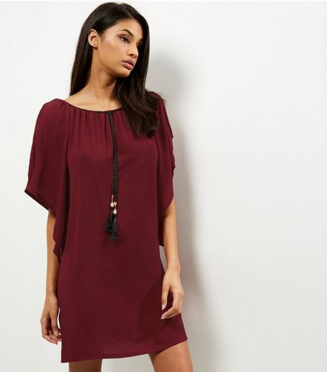 Loving This Burgundy Plait Trim Cold Shoulder Tunic Dress | New Look