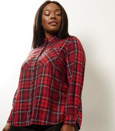 Curves Red Check Cropped Shirt  | New Look
