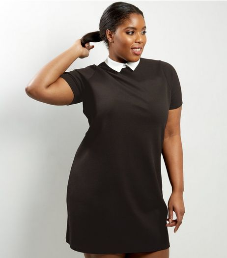 Curves Black Contrast Collar Tunic Dress | New Look