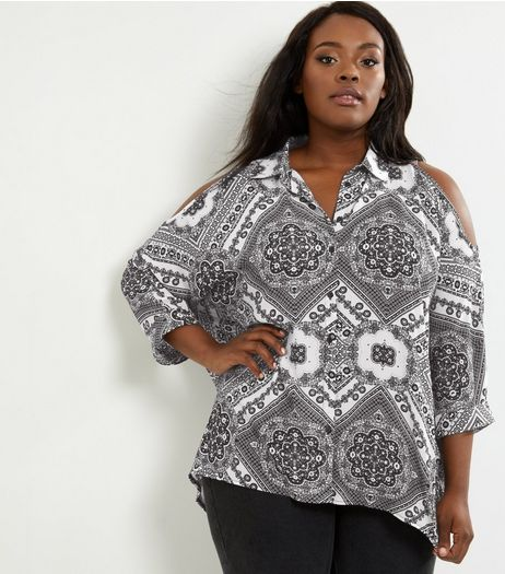 Curves Black Abstract Print Cold Shoulder Shirt | New Look