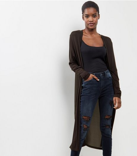 Black Chiffon Back Maxi Cardigan  | New Look