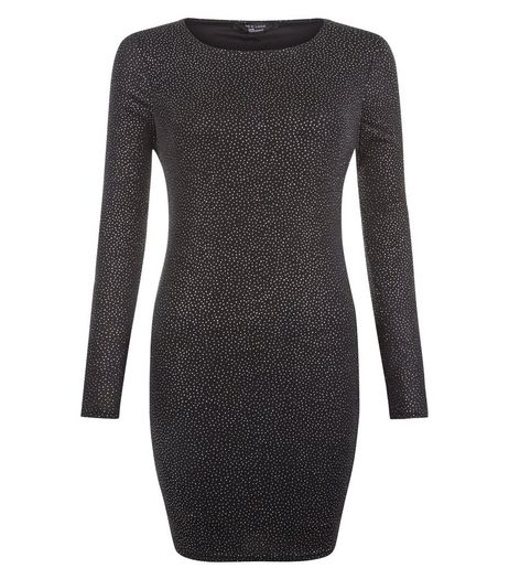 Teens Black Glitter Crew Neck Bodycon Dress | New Look