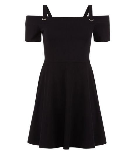 Teens Black Eyelet Strap Bardot Neck Skater Dress | New Look