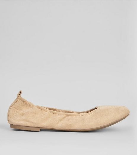Mink Suedette Ballet Pumps | New Look