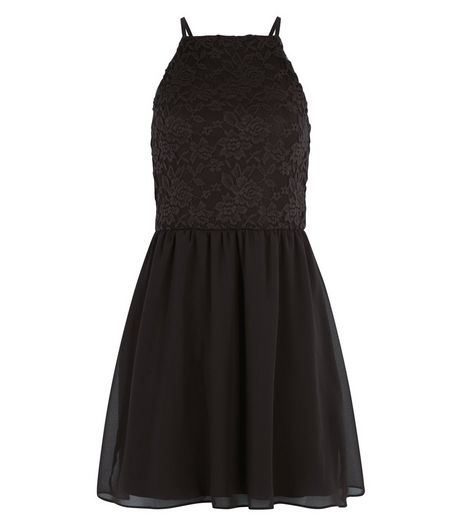 Teens Black Lace 2 in 1 Skater Dress | New Look