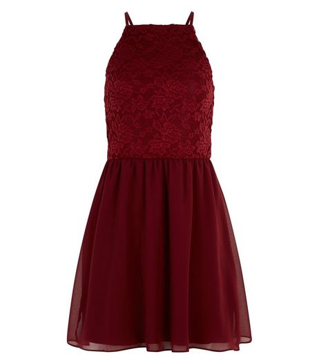 Teens Red Lace Skater Dress | New Look