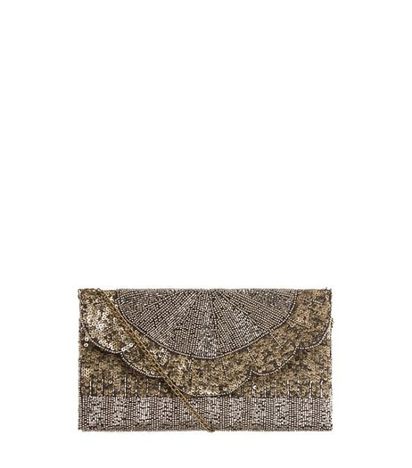 Gold Embellished Envelope Clutch  | New Look