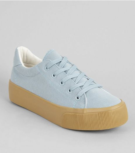 Pale Blue Platform Rubber Sole Trainers | New Look