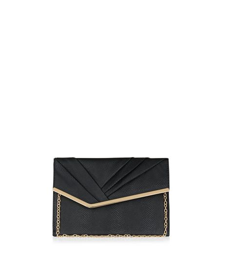 Black Pleated Front Clutch | New Look
